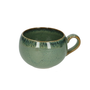 Mok rond reactieve glazuur, steengoed, groen, Ø 9 cm