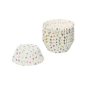 Moules à cupcake, papier, à motif de triangles sur fond blanc, grand