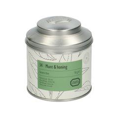 Munt & honing, biologisch, Groene thee, blik, 50 gram