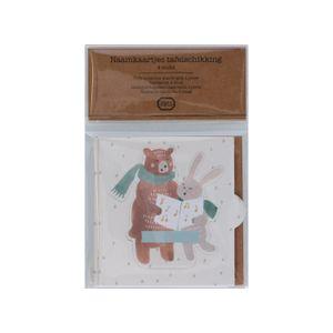 Naamkaartje beer en konijn, papier, 4 stuks