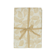Nappe, coton bio, blanc à motif de feuillage jaune, 145 x 250 cm