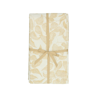 Nappe, coton bio, blanc à motif de feuillage jaune, 145 x 300 cm