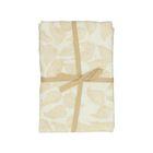 Nappe, coton bio, blanc à motif de feuillage jaune, Ø 180  cm