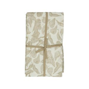 Nappe, coton bio, blanc à motif de feuillage taupe, 145 x 300 cm