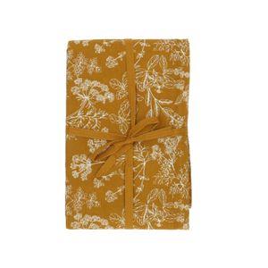 Nappe, coton bio, jaune ocre à motif d'herbes aromatiques, 140 x 180 cm