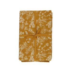 Nappe, coton bio, jaune ocre à motif d'herbes aromatiques, 145 x 250 cm
