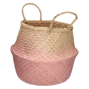 Oogstmand, zeegras, roze, Ø 25 x 40 cm