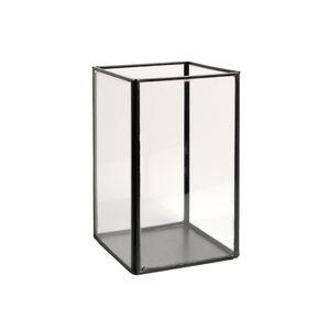 Opbergbakje glas met metalen frame, zwart, hoog, groot