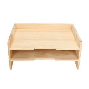 Organisateur de documents, bois de pin, 2 compartiments