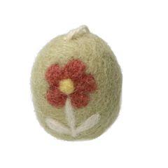 Paashanger ei, vilt, groen met bloemen