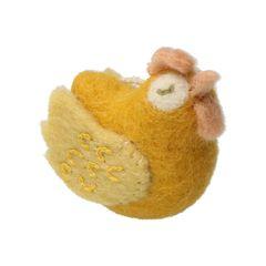 Paashanger kip, vilt, geel