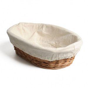 Panier avec doublure, blanc cassé,  30,5 x 19 x 8 cm