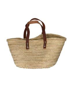 Panier de courses enfant, feuille de palmier, anses courtes en cuir