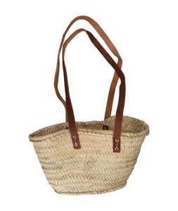 Panier de courses enfant, feuille de palmier, anses longues en cuir