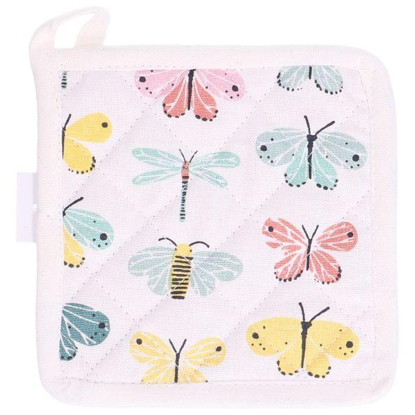 Dille en Kamille: Pannenlapje, katoen, vlinders