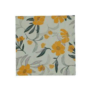 Papierservietten, grün/gelb Blumenmotiv, 25 x 25 cm