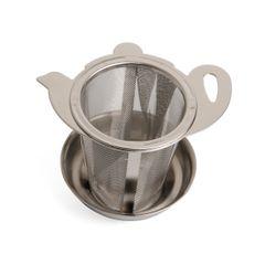 Passoire à thé à bord large et avec égouttoir, acier inoxydable