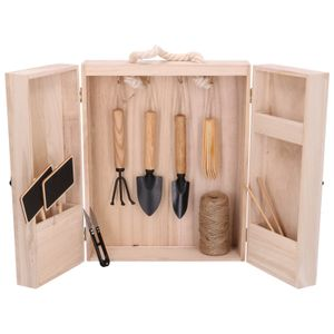 Petit outillage de jardinage, mini armoire en bois kemiri