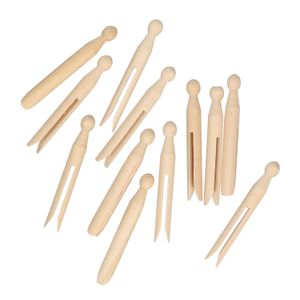 Pinces à linge, arrondi, bois, 12 pièces