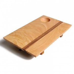 Planche à sushis avec baguettes,bois de caoutchouc, 25 x 15,5 cm