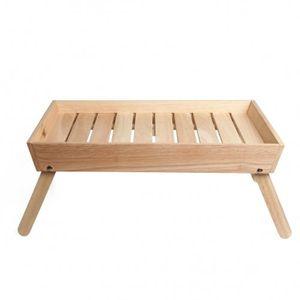 Plateau de petit-déjeuner au lit, bois de caoutchouc