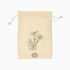 Pochon cadeau, aneth et camomille, coton bio, 24 x 31 cm