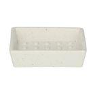 Porte-savon, céramique, blanc moucheté