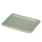 Porte-savon, céramique, bleu, émail réactif, 11,2 x 8,4 cm