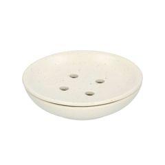 Porte-savon, céramique, mat, blanc moucheté, Ø 9 cm