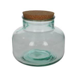 Pot à provision avec bouchon en liège, verre recyclé, 2,5 L