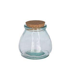 Pot à provision avec bouchon en liège, verre recyclé,  Ø 13 x 13 cm