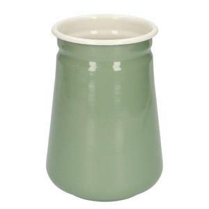 Pot à ustensiles, émail, gris-vert/blanc