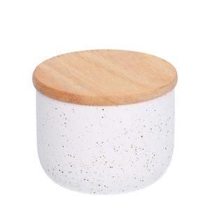 Pot avec couvercle en bois, céramique, blanc moucheté, Ø 8,2 cm