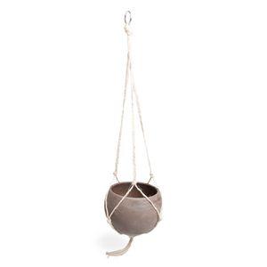Pot de fleur avec corde de suspension, terre cuite