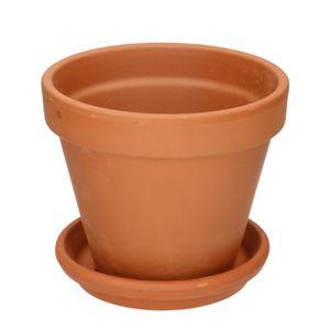 Pot de fleur avec soucoupe, terre cuite, Ø 19 cm
