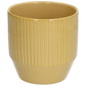 Pot de fleur, céramique, jaune côtelé, 13 x 13 cm