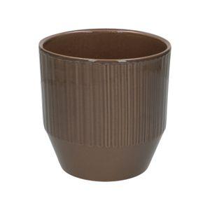 Pot de fleur, céramique, taupe côtelé, Ø 13 cm