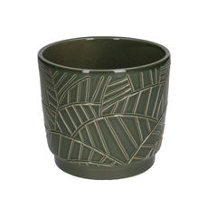 Pot de fleur, céramique, vert foncé à relief de feuilles de palmier, Ø 14 cm