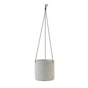 Pot de fleur, corde de suspension, porcelaine, blanc moucheté, Ø 14 cm