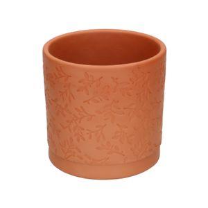 Pot de fleur, terre cuite, à  motif de feuilles en relief, Ø 11 cm