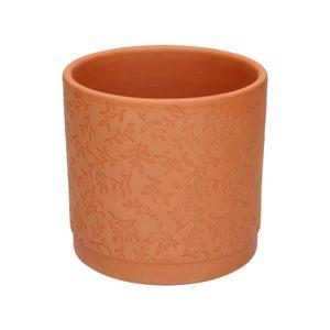 Pot de fleur, terre cuite, à  motif de feuilles en relief, Ø 14 cm