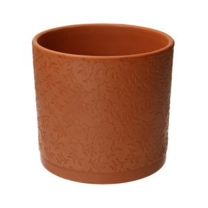 Pot de fleur, terre cuite, à  motif de feuilles en relief, Ø 16,5 cm