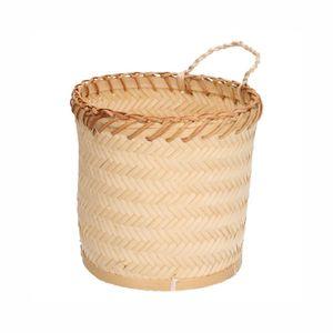 Pot met ophangkoord, bamboe, Ø 17 x 17 cm