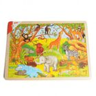 Puzzel Afrikaanse dieren, hout, 48 puzzelstukjes
