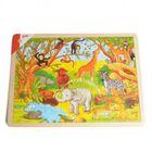 Puzzle animaux africains, bois, 48 pièces