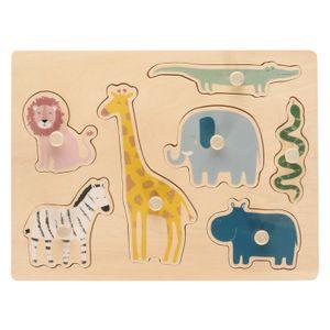 Puzzle, bois, animaux de safari, 12m+