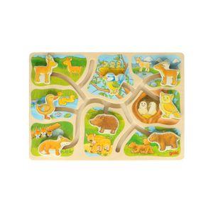 Puzzle taquin, les animaux de la forêt, bois, 2+
