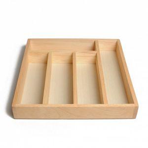 Range-couverts, 5 compartiments, bois d'hévéa, 32,5 x 31 cm