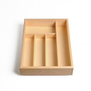 Range-couverts, 5 compartiments, bois de hêtre, 34 x 24,5 cm