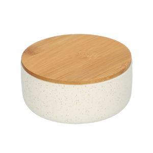 Récipient avec couvercle en bambou, céramique, mat, blanc moucheté, Ø 9 cm